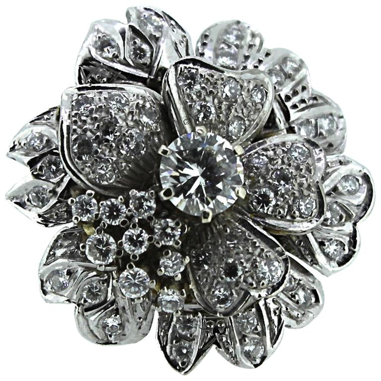 Diamond Gold Floral Brooch