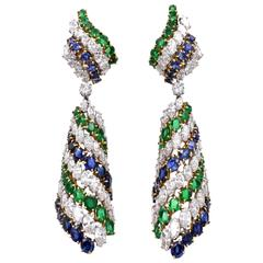 Harry Winston Emerald Sapphire Diamond Platinum Earrings