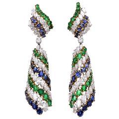 Harry Winston Emerald Sapphire Diamond Platinum Earrings