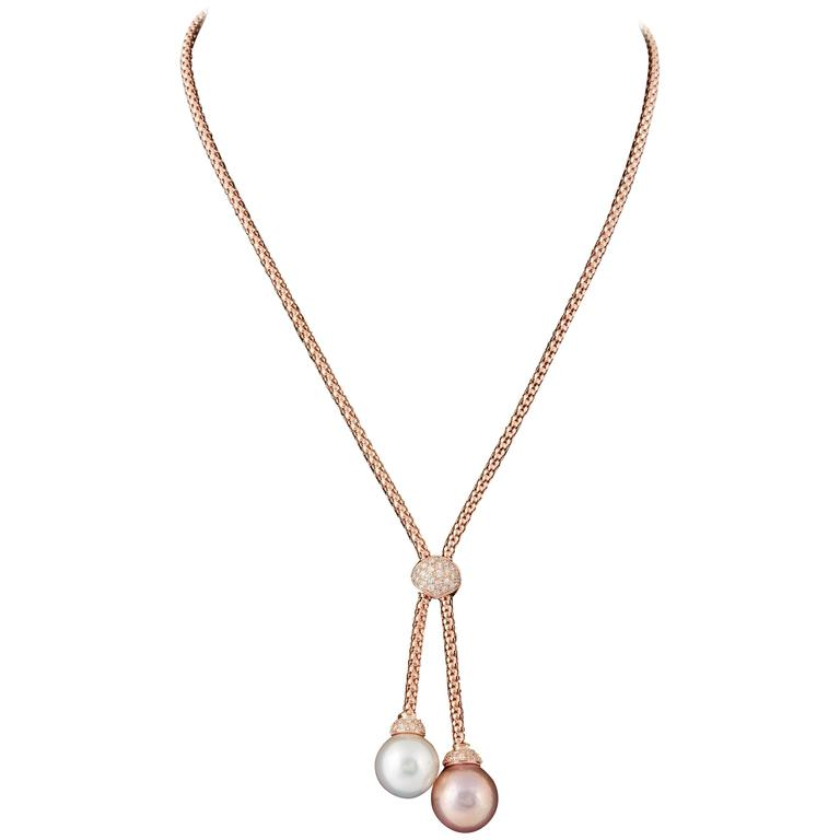 South Sea and Fresh Water Pearl Diamond Gold Pendant
