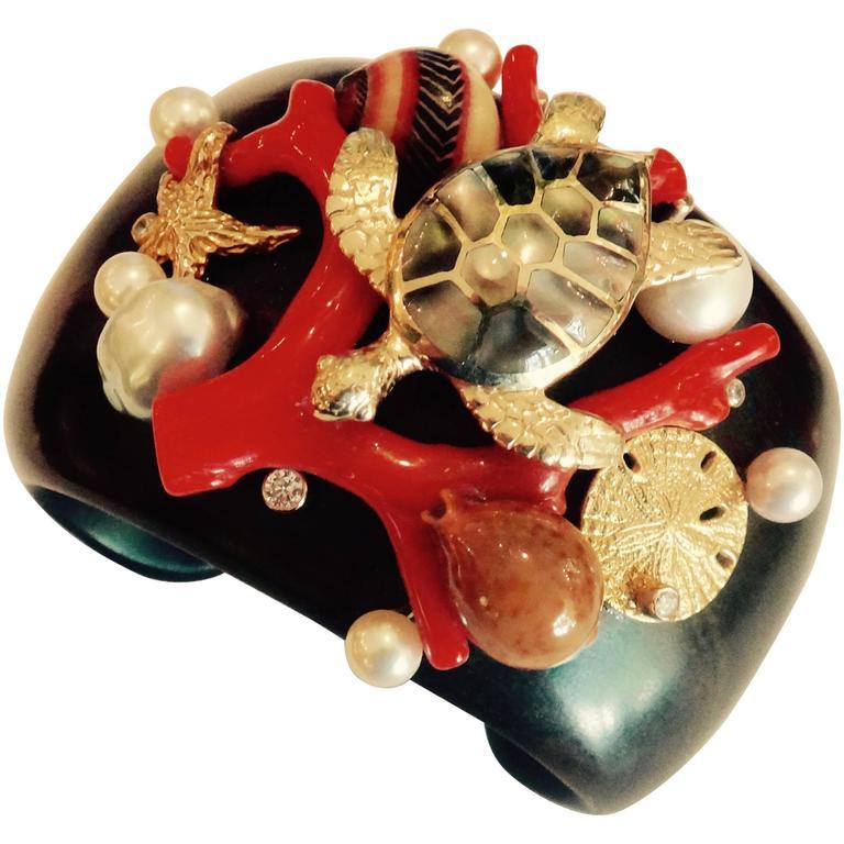 Michael Kneebone Coral Pearl Ebony Shell Diamond 18K Gold Cuff Bracelet