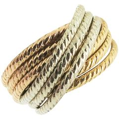 Tricolor Gold Rolling Band Ring