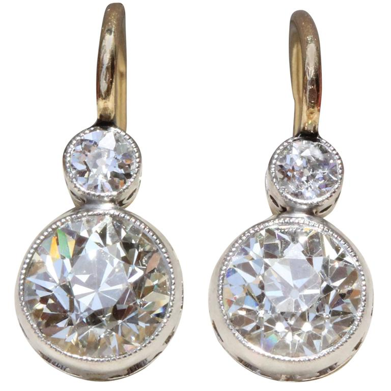 Edwardian Czarist Russian Empire 2 5 Carat Diamond Gold Platinum Top Earrings For