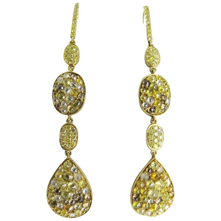 Colored Diamonds Gold Drop Earrings For Sale