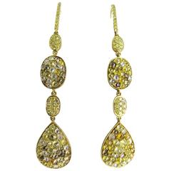 Colored Diamonds Gold Drop Earrings