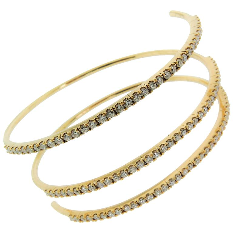 Spiral Diamond Gold Bracelet For Sale