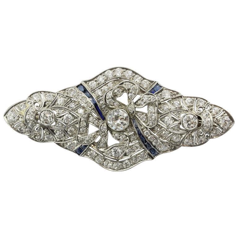 Edwardian Sapphire Diamond & Platinum Bow Pendant Brooch Circa 1900s