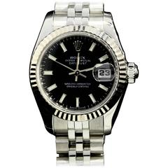 Rolex Lady's Oyster Perpetual DateJust Black Dial Fluted Bezel Wristwatch