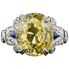 12.03 Carat GIA Cert Natural No Heat Yellow Sapphire Diamond Platinum Ring