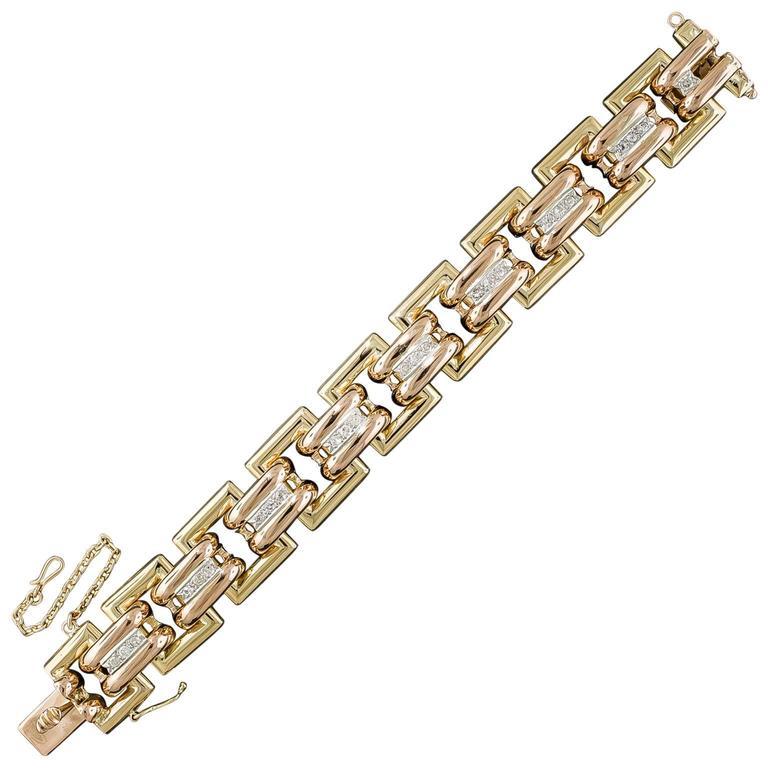 Bold Diamond Tricolor Gold Retro Geometric Link Bracelet