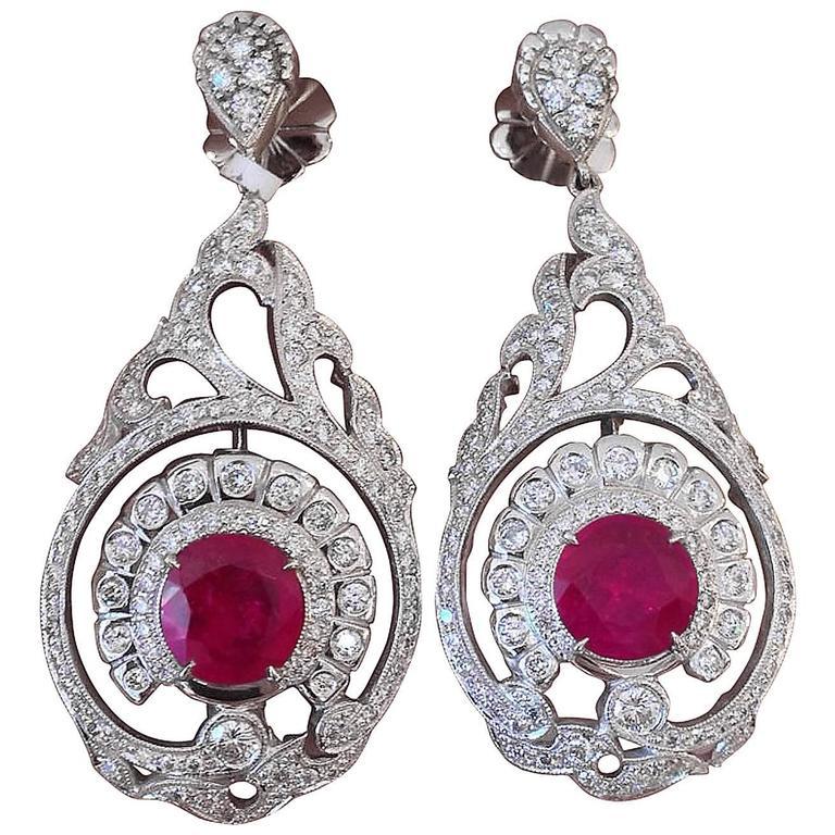 AGL Cert No Heat Ruby Diamond Gold Drop Earrings  For Sale