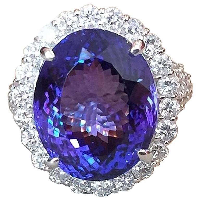 17.12 Carat Oval Tanzanite Diamond Platinum Halo Ring  1