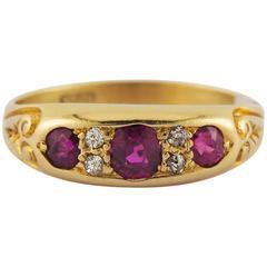1910s Antique Art Nouveau Ruby Diamond Gold Ring