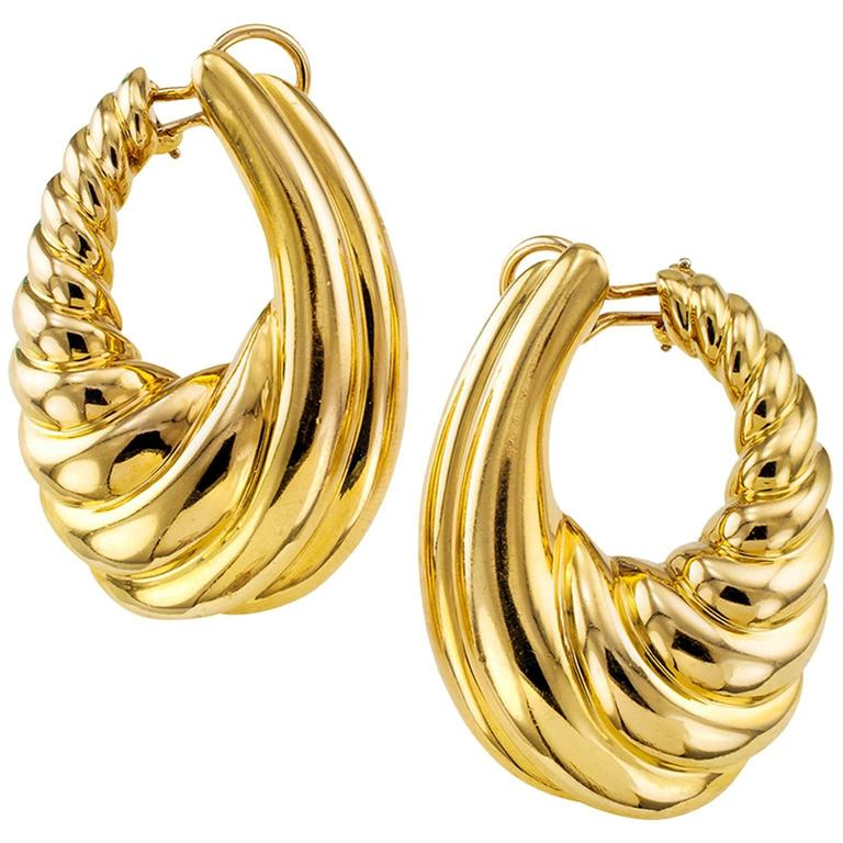 Large Gold Hoop Clip On Earrings For