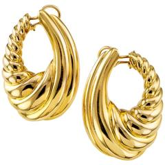 Large Gold Hoop Clip-On Earrings