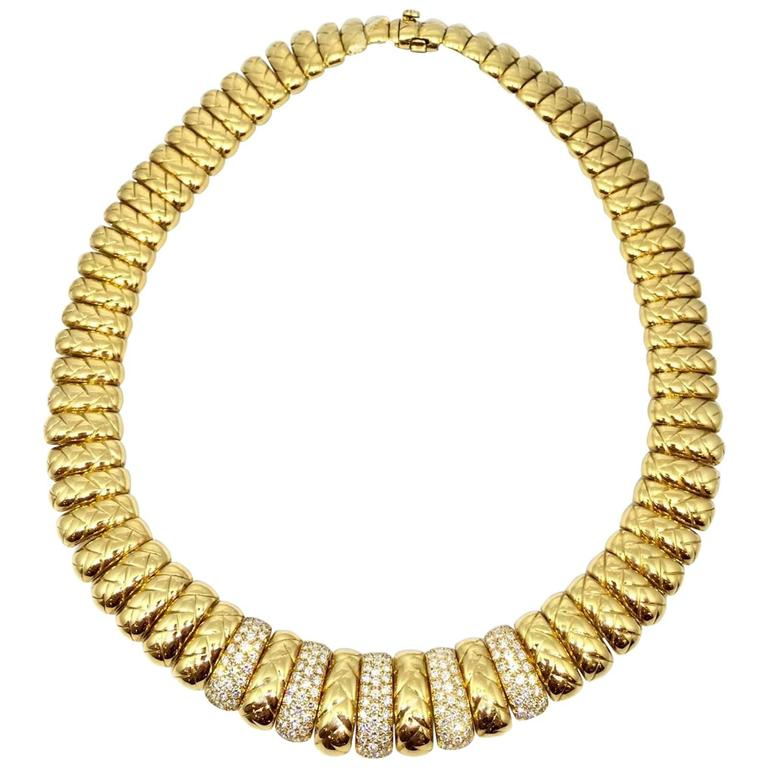 Van Cleef & Arpels Diamond Gold Collar Choker Necklace  For Sale