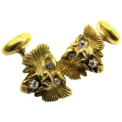 Amazingly Detailed Victorian Diamond Gold Lion Cufflinks