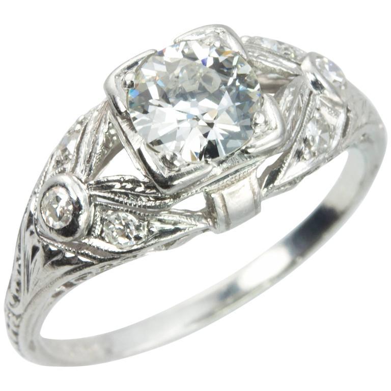 Art Deco 0.64 Carat Old European Cut Diamond Platinum Ring