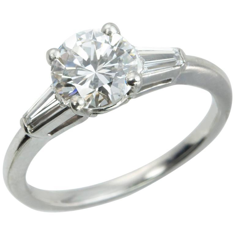 Cartier 1 Carat Round Brilliant Diamond Platinum Engagement Ring For Sale