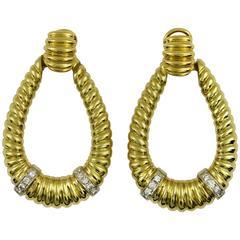 Large Diamond Gold Door Knocker Earrings