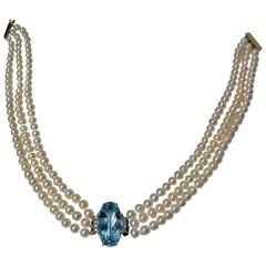 Pearl Choker Necklace with Aquamarine Diamond Centrepiece