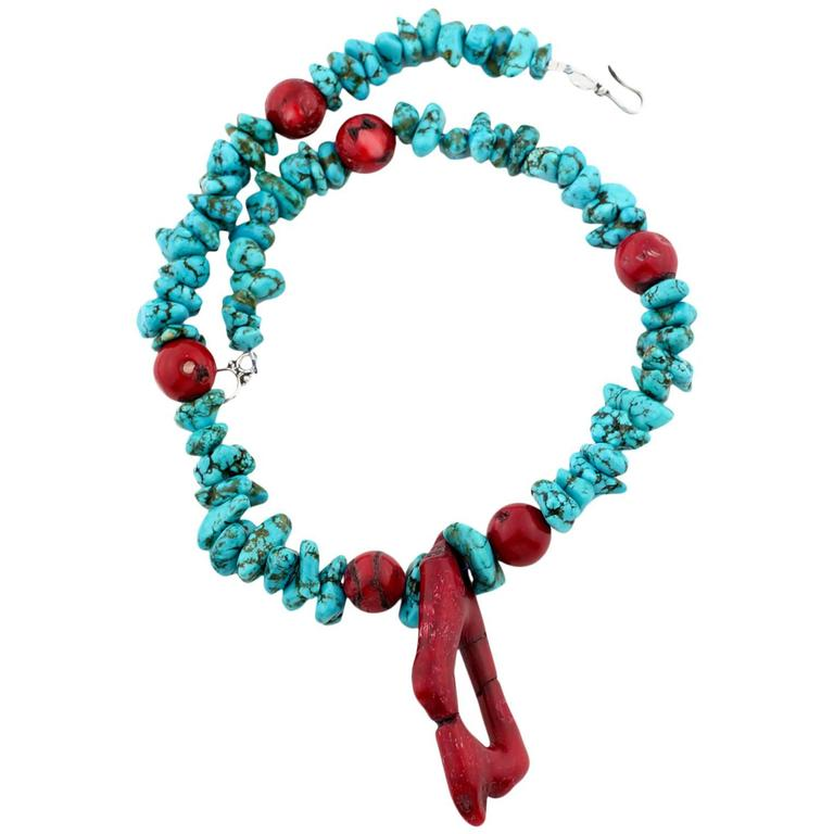 Drop Necklace Style of Faux Turquoise and Bamboo Coral Necklace