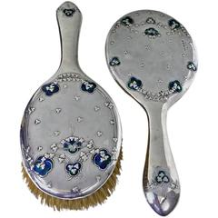 1906 Liberty Enamel Silver Mirror and Brush designed by Jessie M. King