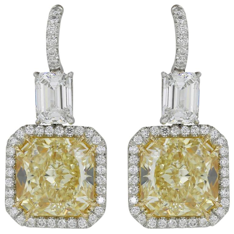 10.81 Carats GIA Yellow Diamonds Gold Platinum Drop Earrings