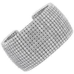 Stunning 52.61 Carat Diamonds Gold Cuff Bracelet