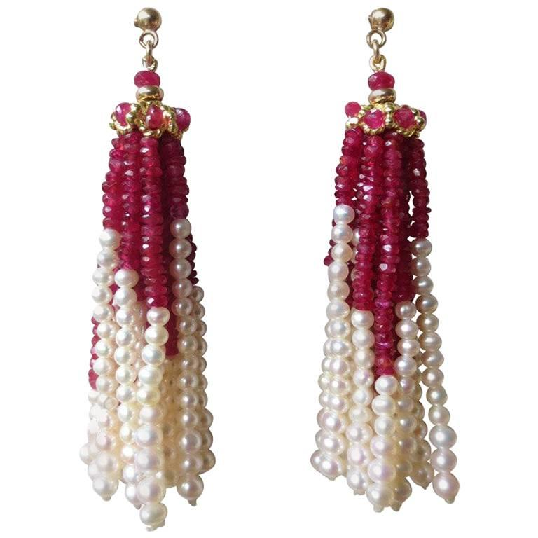 Pearl And Ruby Faceted Beaded Tel Earrings With 14 Karat Yellow Gold Studs For