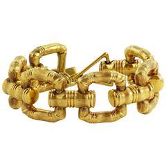 Gold Bamboo Style Link Bracelet