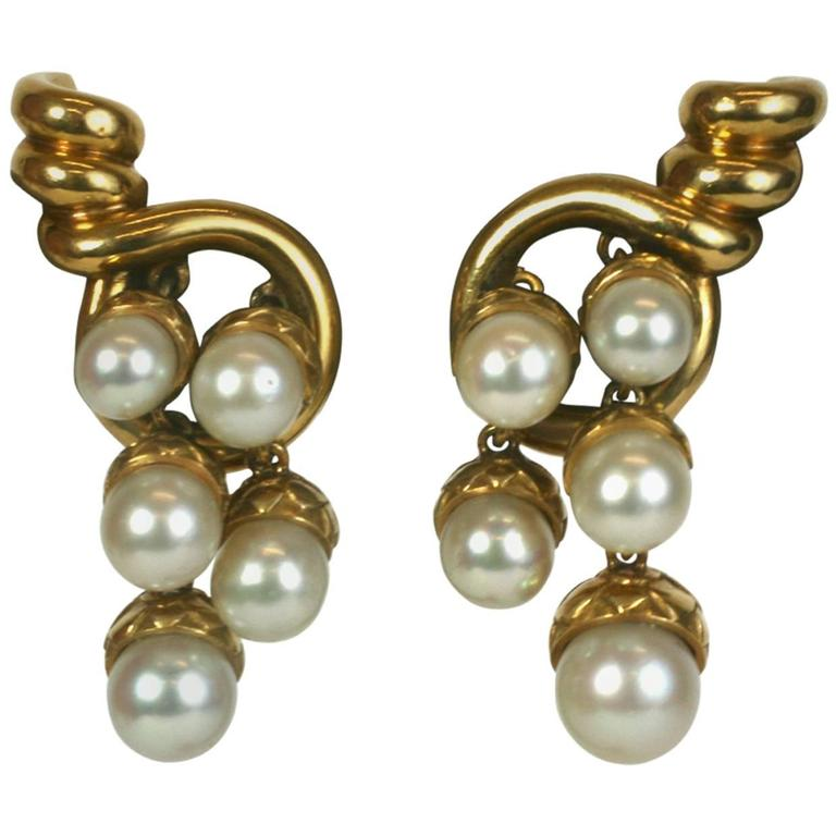 French Pearl Gold Acorn Cornucopia Earrings For Sale