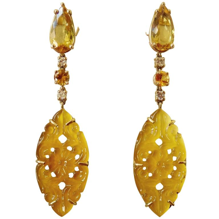 Golden Beryl Yellow Sapphire Yellow Onyx Diamond Gold Dangle Earrings 1