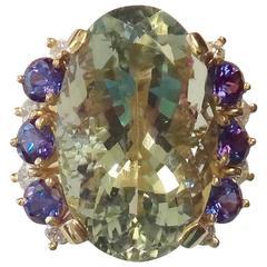 Green and Brilliant Cut Amethyst Diamond Gold Ring