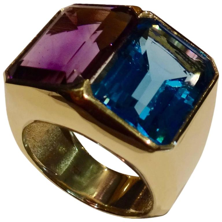 Michael Kneebone Blue Topaz Amethyst Gold Cocktail Ring
