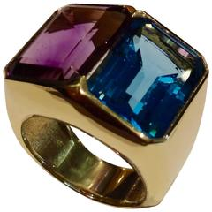 Blue Topaz Amethyst Gold Ring