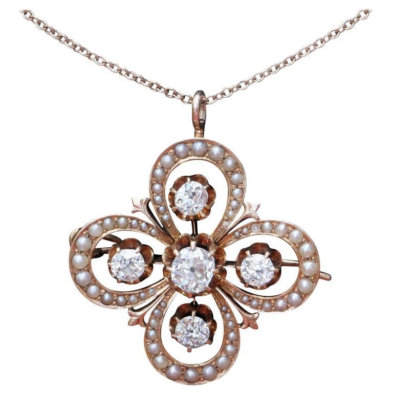 Victorian Gothic Revival Rose Gold Old Mine Diamond Pendant Circa 1870