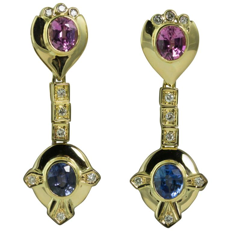 Pink and Blue Sapphire Diamond Gold Drop Earrings