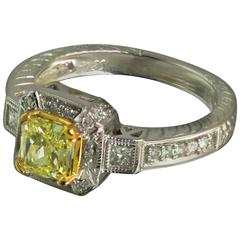 Canary Diamond Two Color Gold Ring