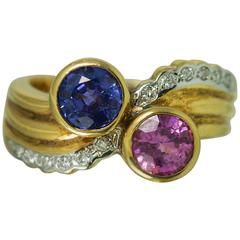 Pink and Blue Sapphire Diamond Gold Ring