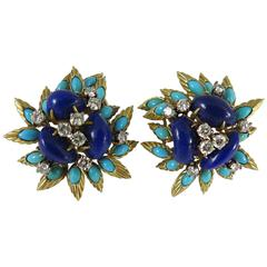 Midcentury French Turquoise Lapis Lazuli Diamond Gold Earrings