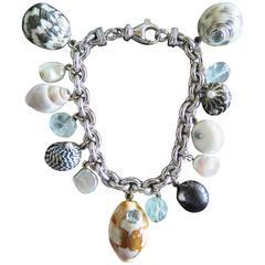 Trianon Gemstone Gold Sea Shell Charm Bracelet