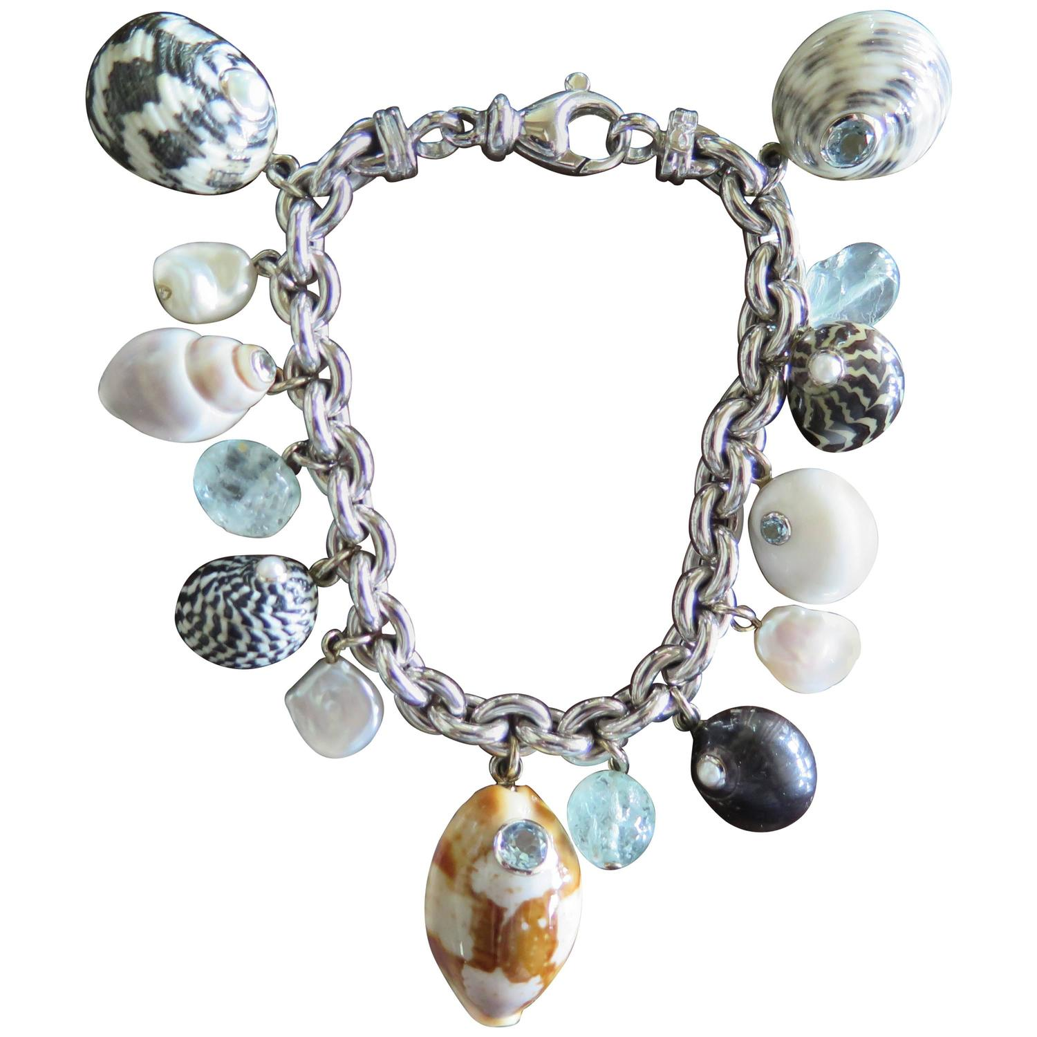 Seashell Charm Bracelet: Trianon Gemstone Gold Sea Shell Charm Bracelet For Sale At