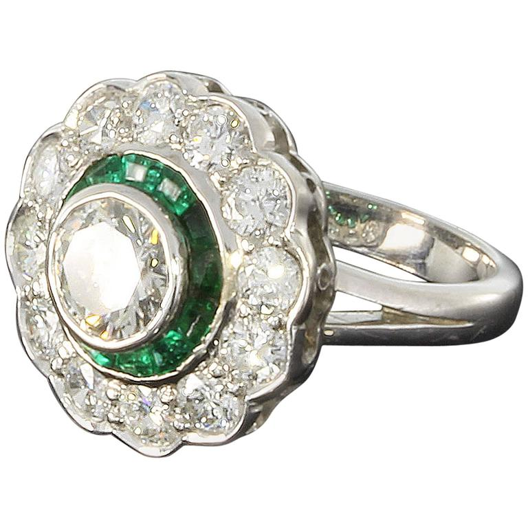 Emerald Diamond Gold Cluster Ring 1