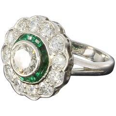 1920s Emerald Diamond Gold Cluster Ring
