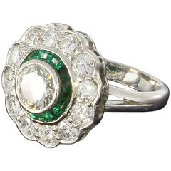 1920s Emerald Diamond Gold Cluster Ring