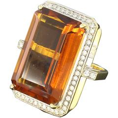 Large Citrine Diamond Gold Ring