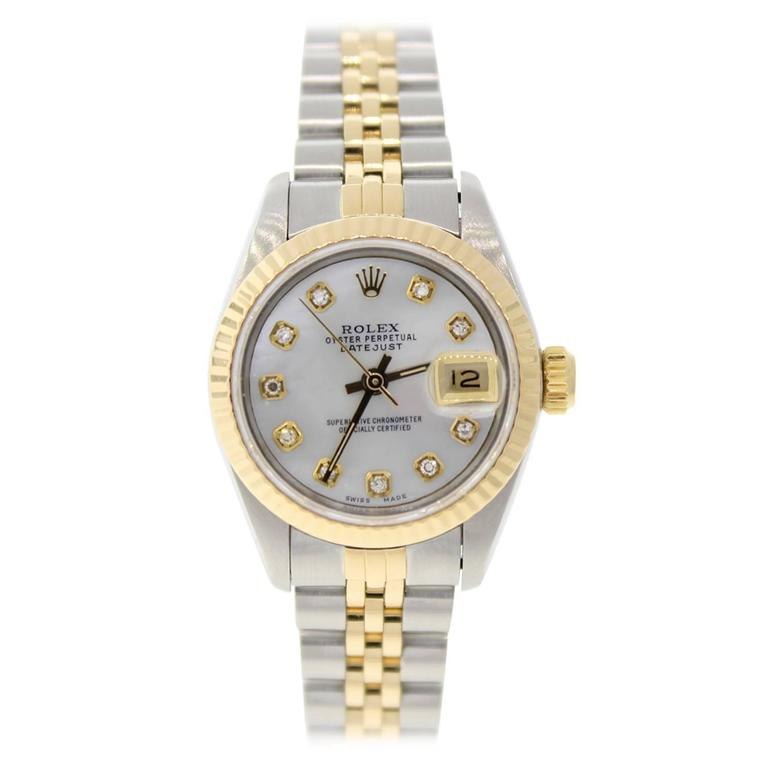 Rolex Lady's Datejust Yellow Gold Stainless Steel Diamond ...