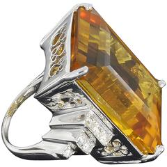 Art Nouveau Citrine Diamond Gold Ring