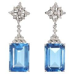 Blue Topaz Diamond Gold Drop Earrings